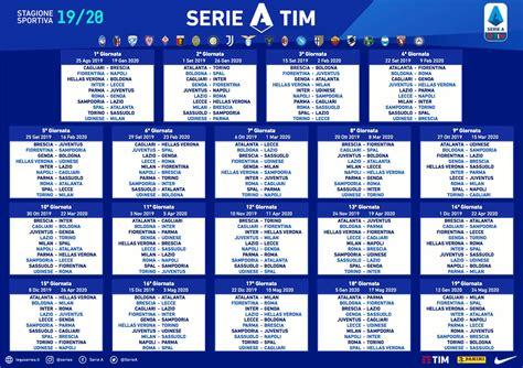 calendario serie tutte le partite date