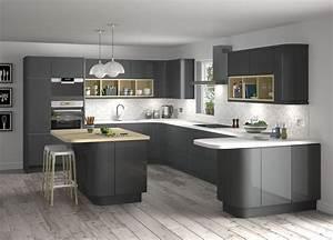 White And Grey Kitchen Designs Brown Laminate Wooden Floor