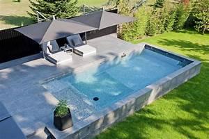 Piscine Semi Enterrée Pas Cher : piscine semi enterr e en b ton terrasse mr et mme renner ~ Melissatoandfro.com Idées de Décoration