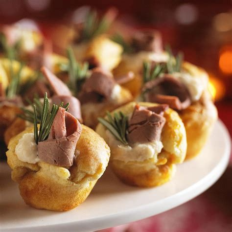 savoury canapes mini puddings with beef and horseradish in