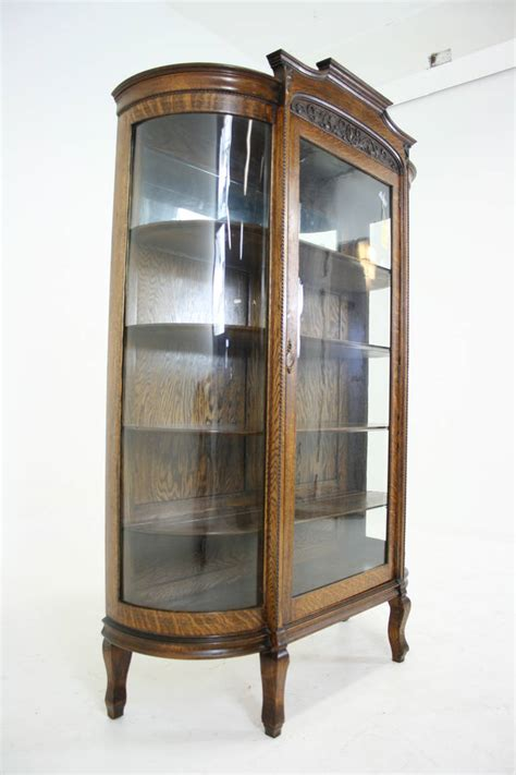 bow front curio cabinet antique american tiger oak bow front china display curio