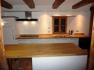 cuisine stratifie brillantplan de travail bois massif With plan de travail cuisine chene