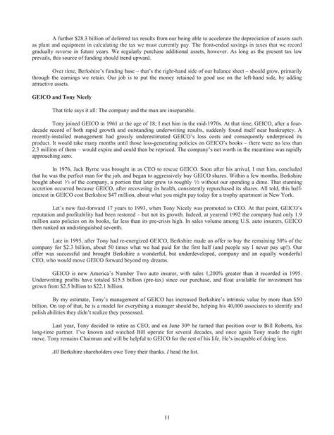 Notes Warren Buffett Letter Shareholders