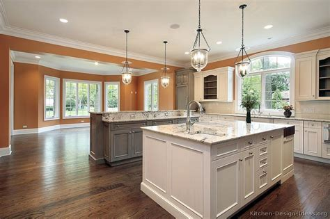 kitchens with two islands pictures of kitchens traditional two tone kitchen cabinets kitchen 158