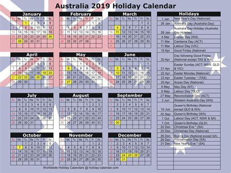 australia holiday calendar