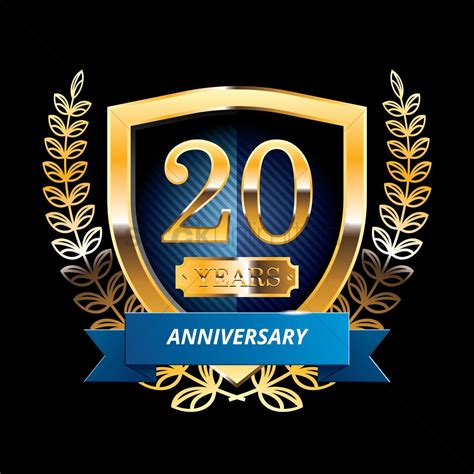 20th anniversary color 20 years anniversary label with ribbon vector image