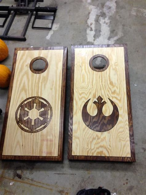 star wars corn hole wood burned outline  stained