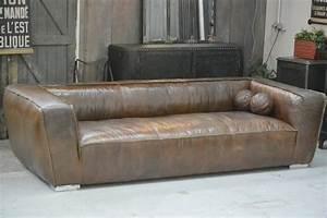 photos canape convertible cuir marron vieilli With canapé cuir vieilli