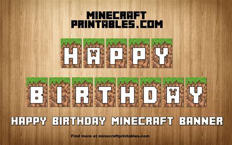 birthday banner printable minecraft happy birthday banner