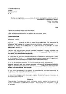 lettre de demande d 233 chelonnement du paiement de l imp 244 t sur le revenu mod 232 le de lettre