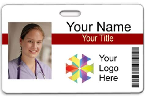 Id Badge Template Horizontal Photo Id W Bar Code 2 Lines Text Name Tag