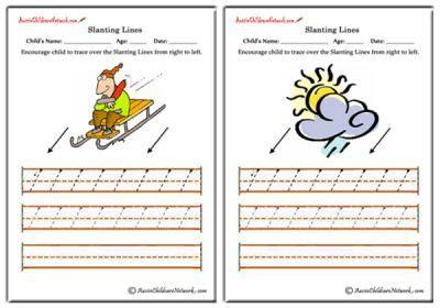 slanting lines worksheets   left aussie