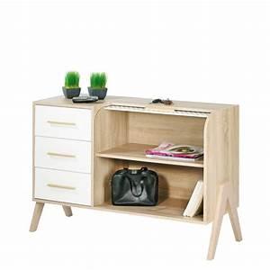 Meuble Entree Blanc : meuble d 39 entr e vintage rideau blanc 3 tiroirs blancs simmob ~ Teatrodelosmanantiales.com Idées de Décoration