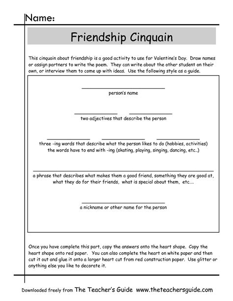 Poetry Templates For by Friendship Cinquain Worksheet Poetry