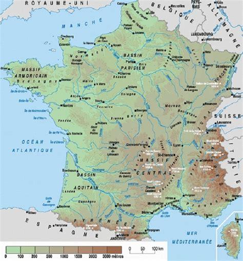 Carte De Avec Villes Fleuves Et Montagnes by Relief Fleuves R 233 Gions Villes Montagnes