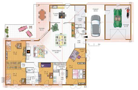 plan maison plain pied 4 chambres garage plan grande maison avec 4 chambres plans maisons