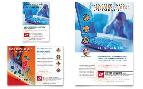 computer consulting flyer ad template design