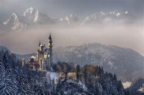 germany bayern munich neuschwanstein castle sky clouds