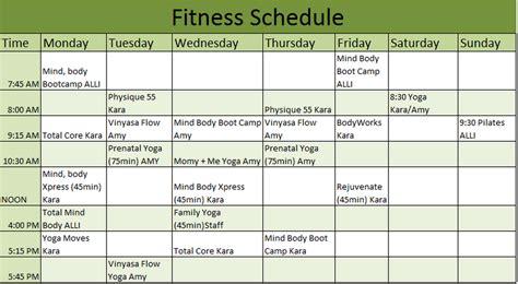 weekly training schedule template printable schedule