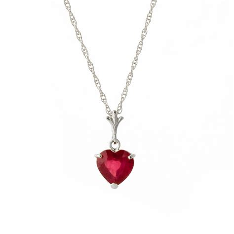 Ruby Heart Pendant Necklace 1.45ct in 9ct White Gold