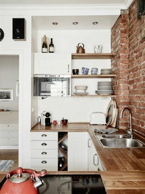 comment amenager une cuisine 1 la cuisine americaine ikea avec mur de briques rouges