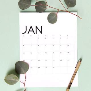 printable modern  monthly calendar planner