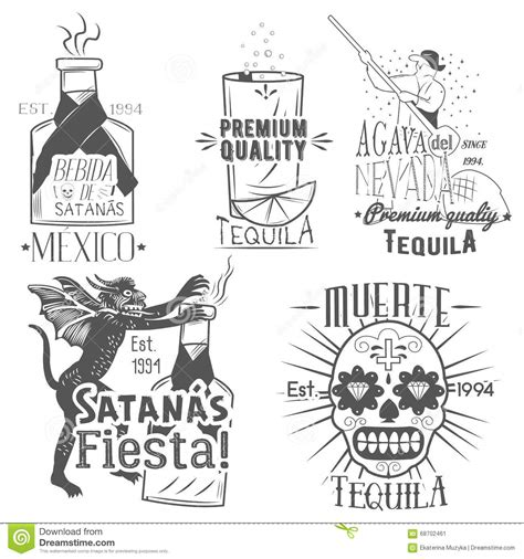 vector set  tequila labels  vintage style mexican