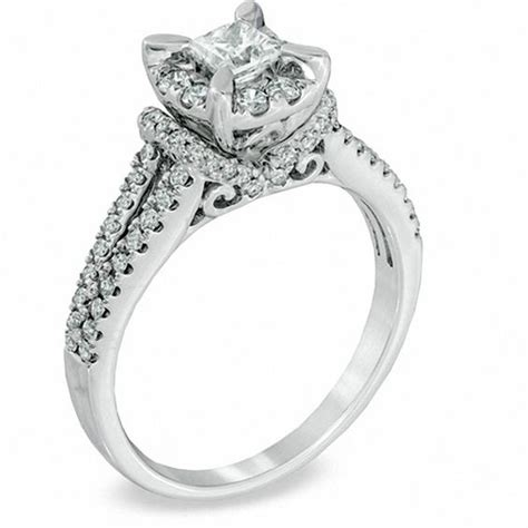 1 ct t w princess cut vintage style engagement ring in 14k white gold princess