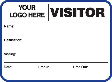 Visitor Pass Template visitor pass registry book customized 752 791