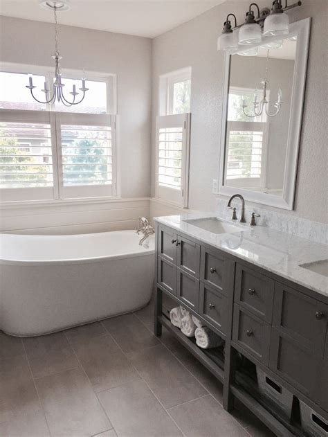 farmhouse  french country inspired bathroom update grey  white color scheme shipla