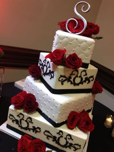 black and white and red wedding cakes red white and