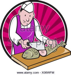 illustration   butcher fishmonger sushi chef cutter