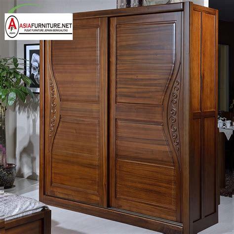 lemari pakaian kayu jati sliding 2 pintu asia furniture