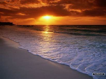 Sunset Desktop Beach Wallpapers Backgrounds Background Sunsets