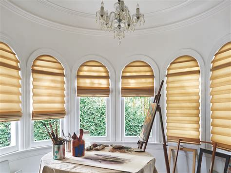 blinds shades shutters  arched windows draperies