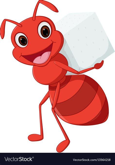 Happy ant cartoon carrying sugar Royalty Free Vector Image