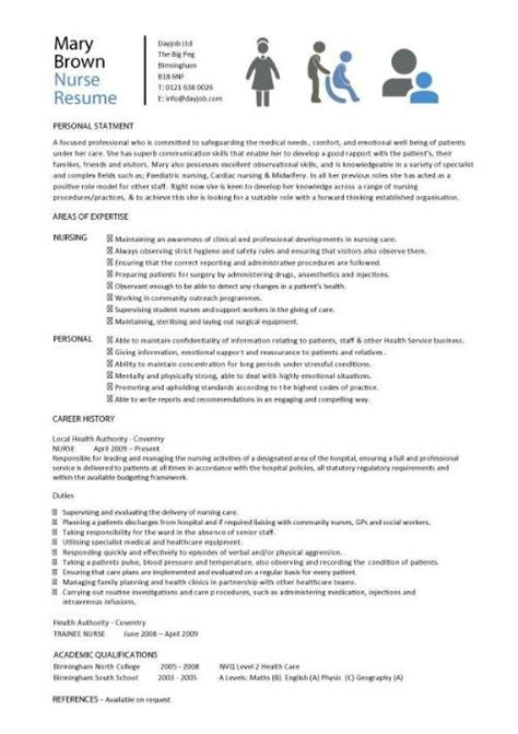 Nursing Resume Model by Nursing Cv Template Resume Exles Sle