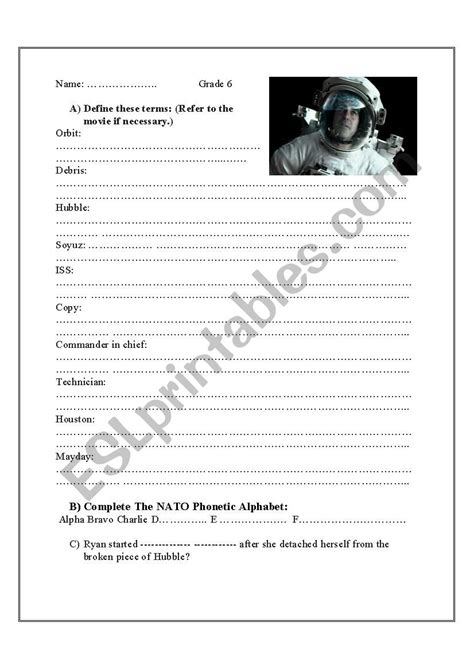 English Worksheets Gravity (2013) Movie Worksheet