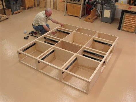 woodwork platform bed  drawers plans  diy