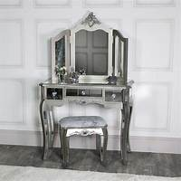 mirrored bedroom furniture Mirrored 3 Drawer Dressing Table, Stool and Mirror Bedroom ...