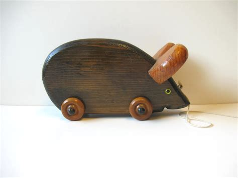 wooden toys vintage wooden mouse pull toy handmade retro by