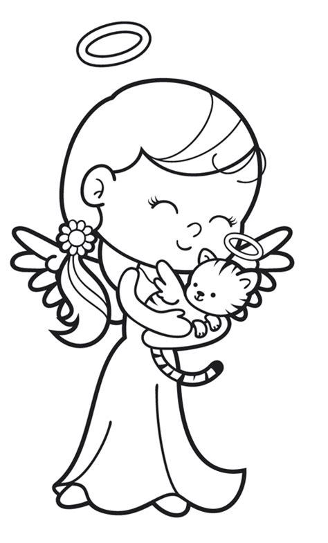 ausmalbild engel engel mit engel katze kostenlos ausdrucken