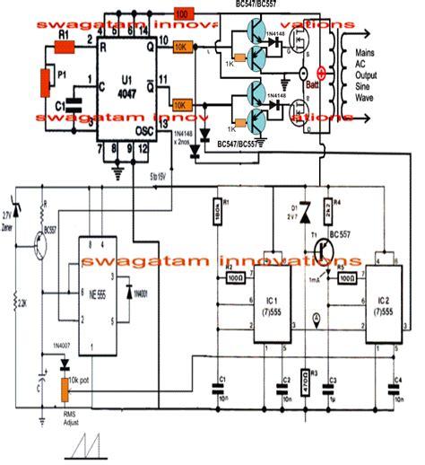 post explains  simple pure sine wave inverter circuit   ic  sine inverter