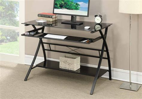 metal and glass office desk modern computer office writing desk curved x legs shelf