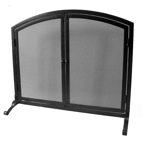 single panel fireplace screen with doors home decorators collection emberly black single panel