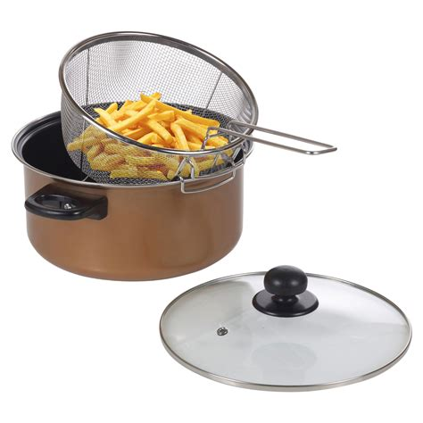 stove top chip pan deep fat fryer set copper  frying basket clear glass lid ebay