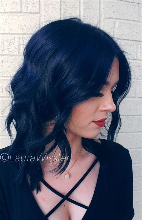 Blue Black And Hair by Midnight Blue Black Hair Color Textured Lob Instagram