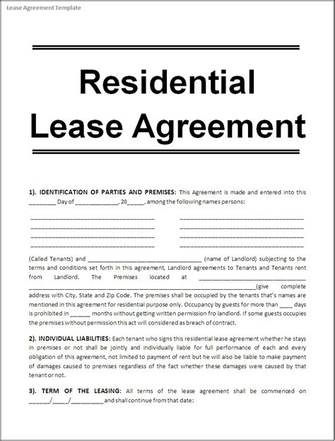 lease a lease agreement template real estate forms