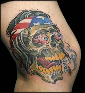 American traditional colorful knee tattoo of zombie skull ...