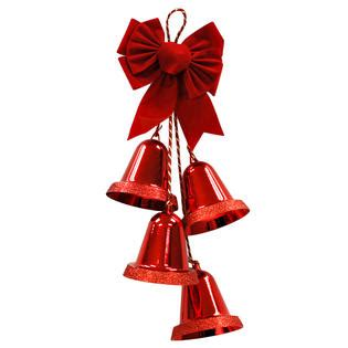 trimming traditions large glittery trim a home 174 27 quot 4 large red glitter edge christmas bells with red velvet bow door hangers